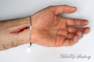 picture of a cinema practical effect: cut on a lower arm