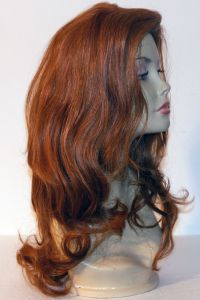 available for rent: elegant and sexy auburn red wig in human hair with dark brown streaks