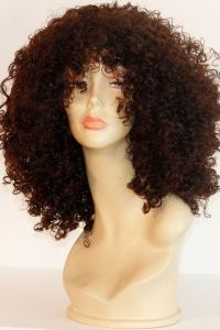 available for rent: very curly and full of volume hair wig, darkest brown, stunning and sexy