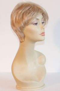 available for rent: Very short light ash blonde wig, front with bangs, in kanekalon. Easy cut and modern look.